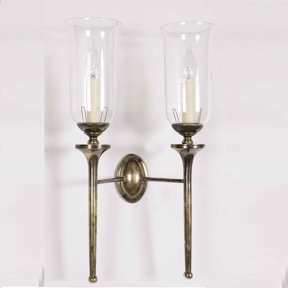 The Limehouse Lamp Company Grosvenor 721TG Light Antique With Glass Shade G027 Wall Light Double