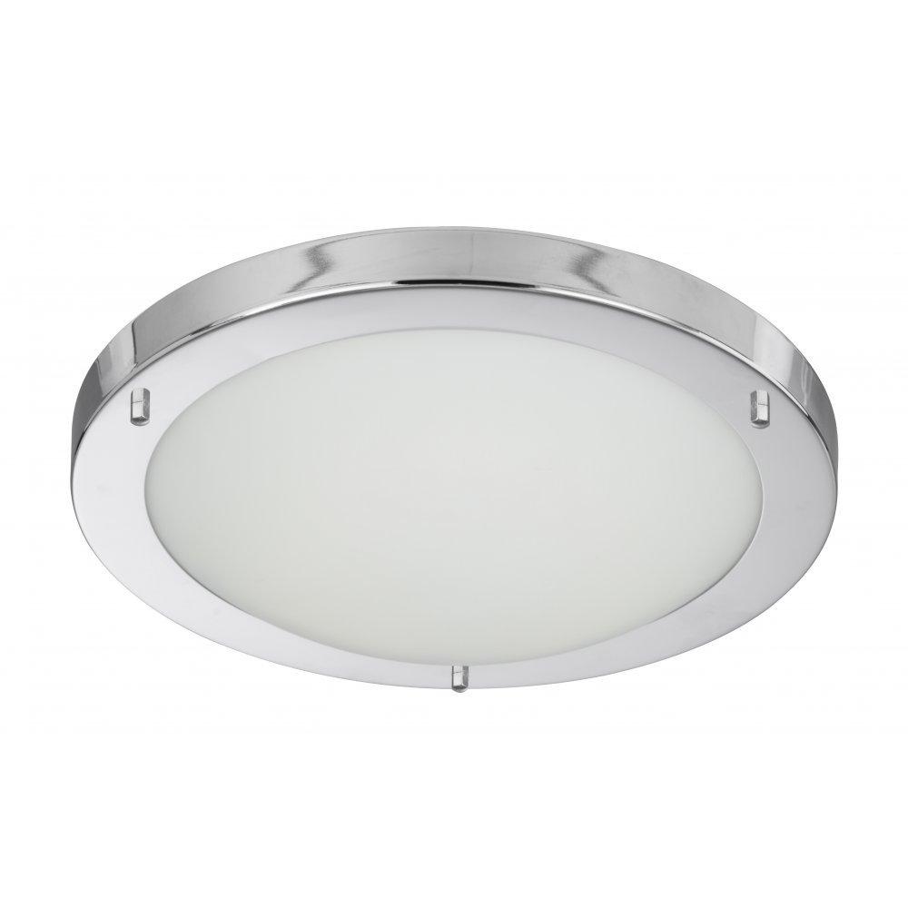 Searchlight Electric 10633CC Chrome With Opal Glass Shade Bathroom Flush Fitting