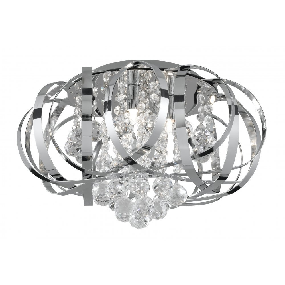 Searchlight Electric Tilly 5973 3cc Chrome With Crystal Glass Detail Semi Flush Ceiling Light