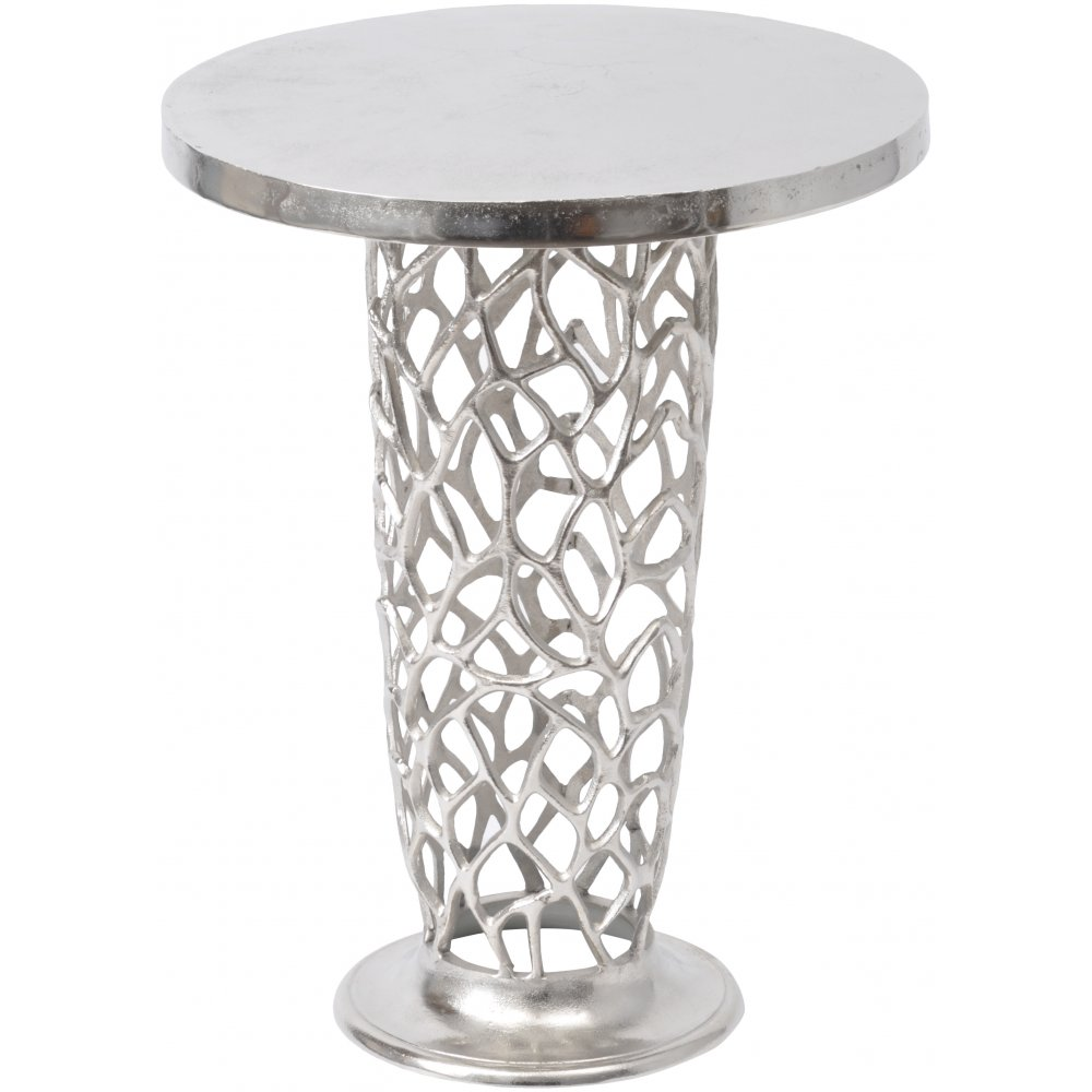 Wonderful Libra Company Romano Coral 431000 Nickel Textured Pedestal Side Table