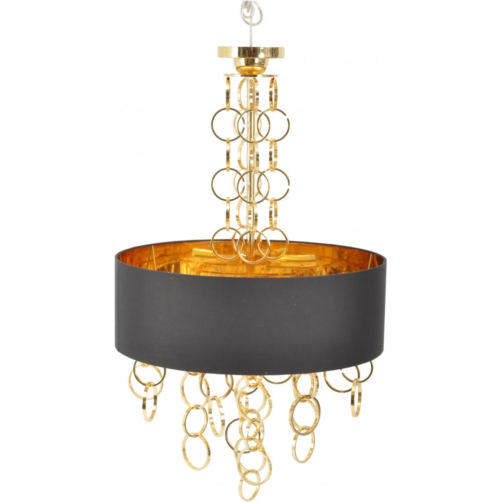 Links chandelier by libra shop with lightplan libra company links 367215 electroplated gold chandelier with black lamp shade aloadofball Choice Image