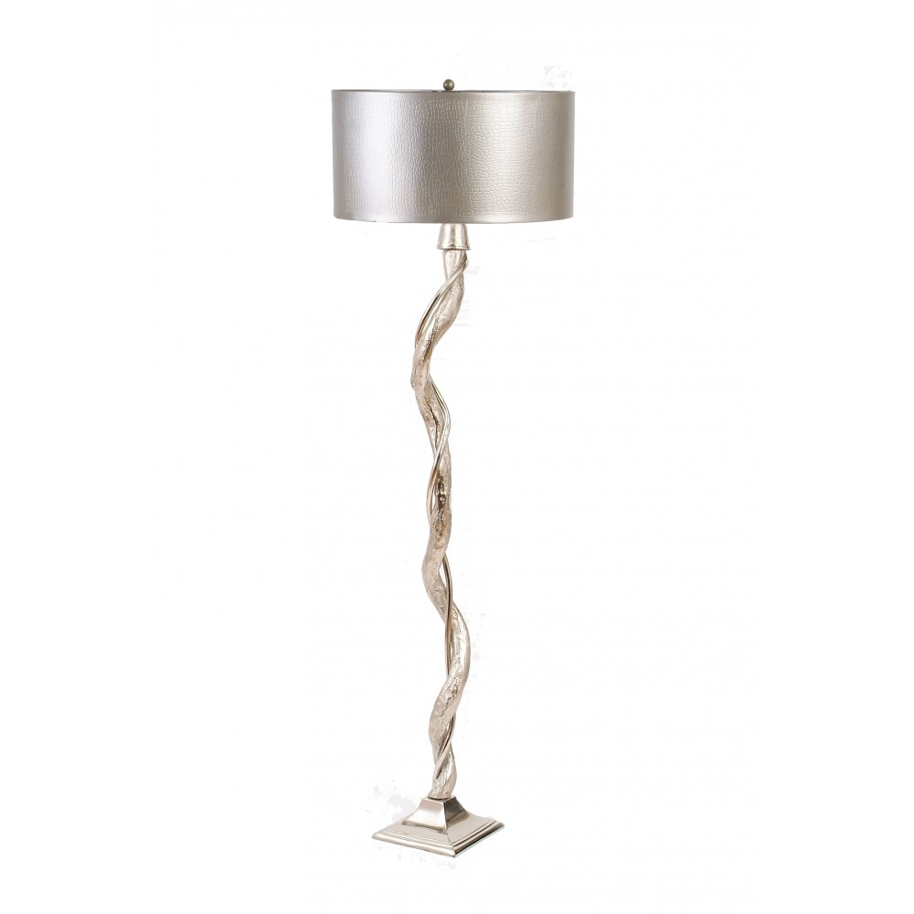 Libra company willow 037065 silver with pewter textured for Floor lamp with silver base