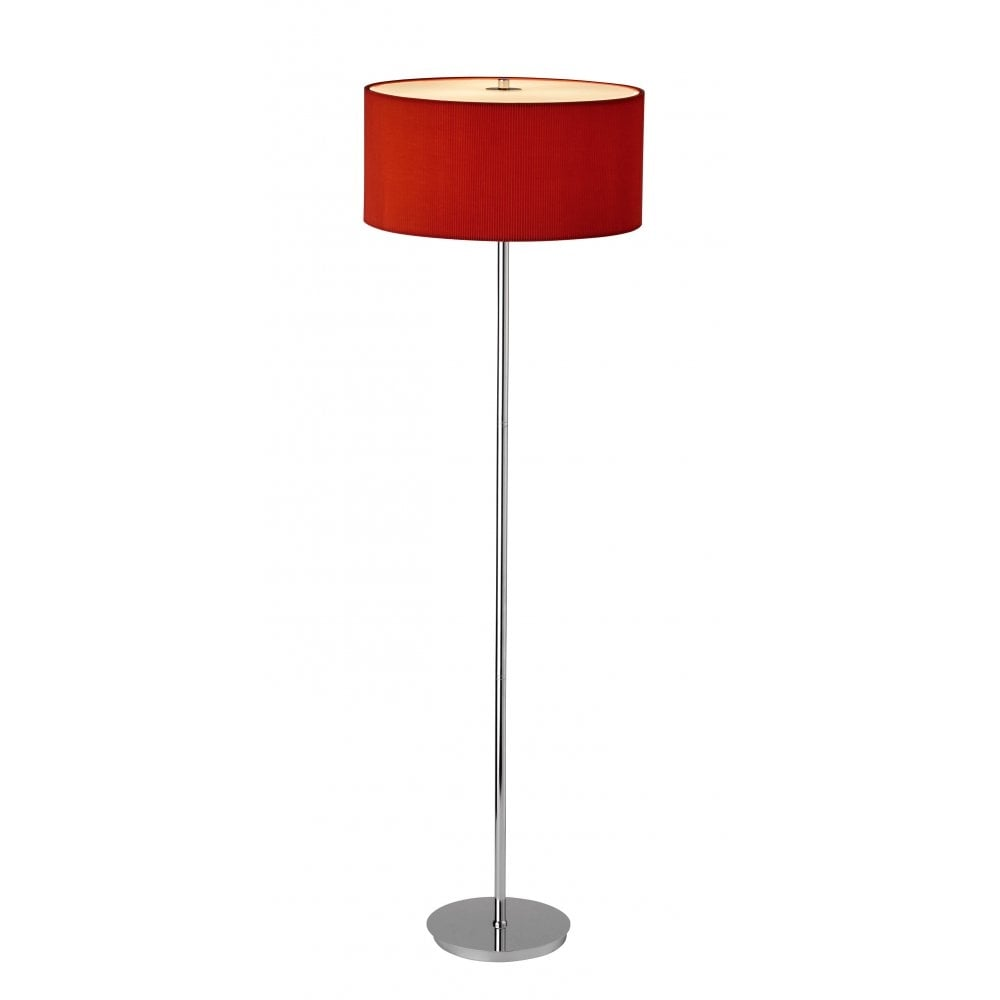 dar lighting zaragoza zar4925 polished chrome 3 light floor lamp red fabric shade dar. Black Bedroom Furniture Sets. Home Design Ideas