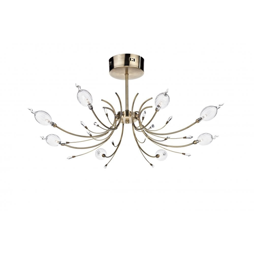 dar lighting eloise elo0875 antique brass 8 light semi