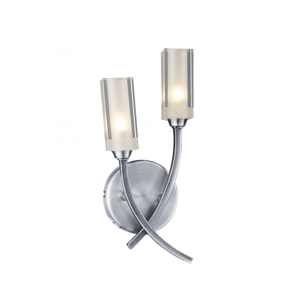 Fitting Wall Lights With No Earth : Dar Lighting Morgan MOR0946 Satin Chrome 2 Light Wall Fitting