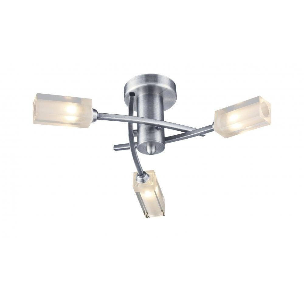 Dar Lighting Morgan Mor0346 Satin Chrome Semi Flush 3