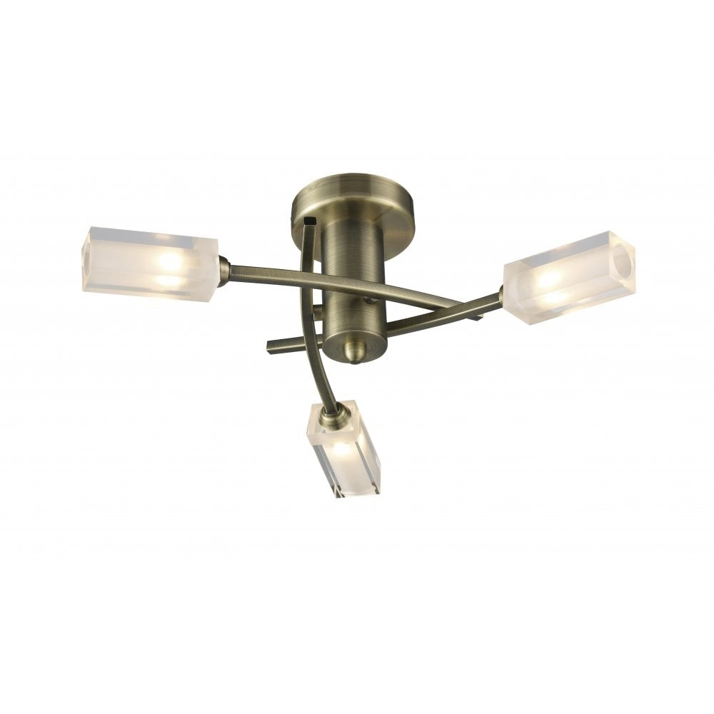 Dar Lighting Morgan Mor0375 Antique Brass Semi Flush 3 Light Ceiling Ing