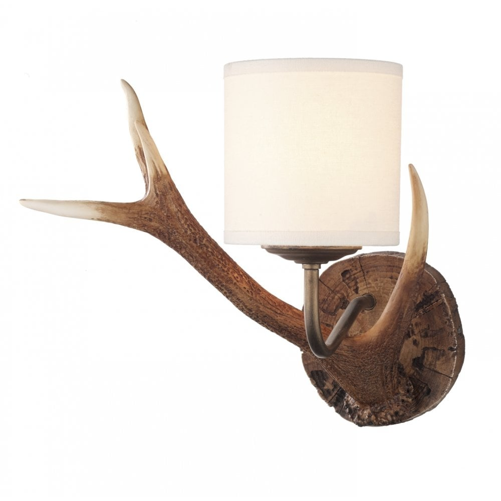 Dar lighting antler ant0729s hand crafted rustic coloured wall light dar lighting antler ant0729s hand crafted rustic coloured wall light cream shade audiocablefo