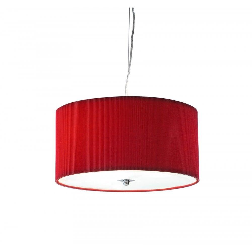 Dar Lighting Zaragoza Zar1725 Red Fabric Shade 3 Light