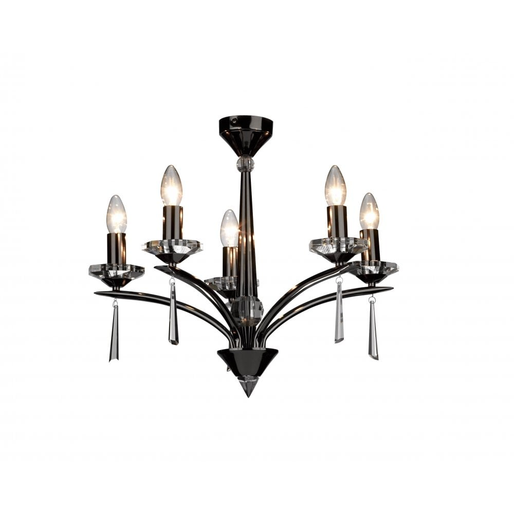 dar lighting hyperion hy0567 black chrome  crystal sconce 5