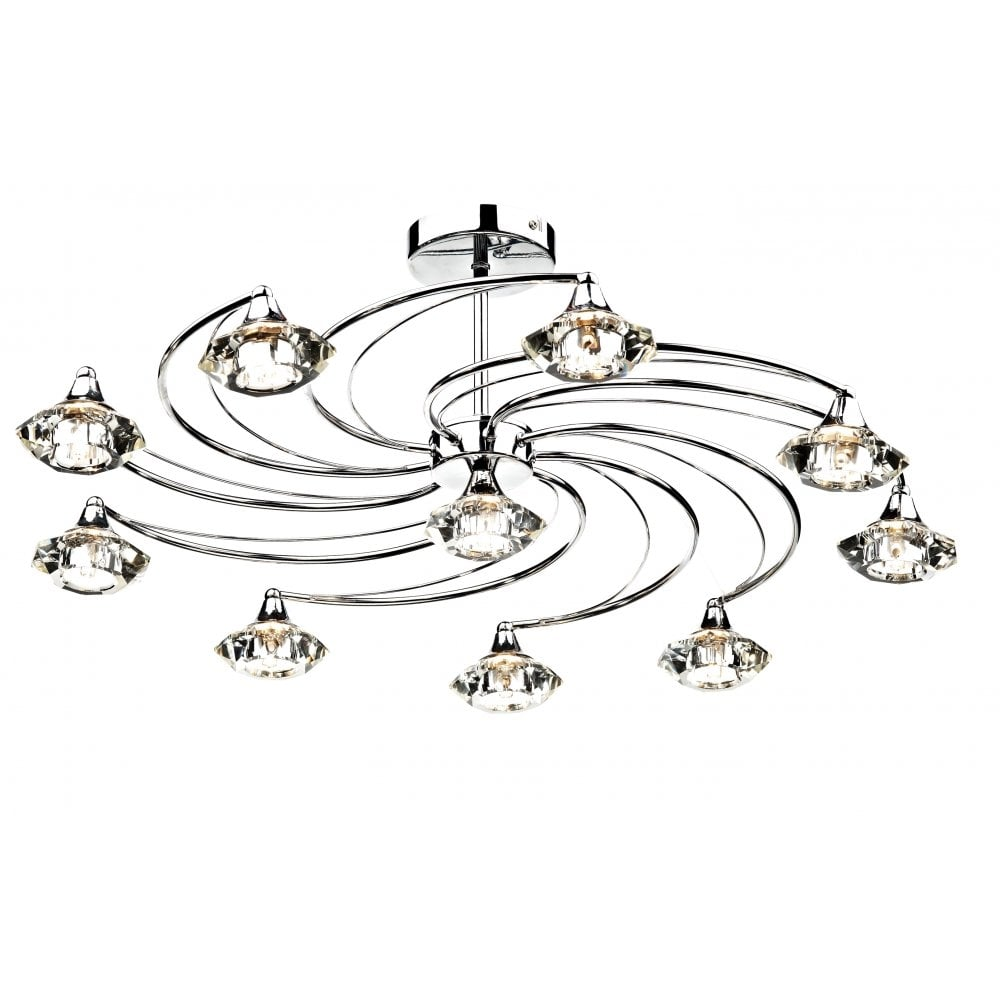 dar lighting luther lut2350 polished chrome semi flush 10