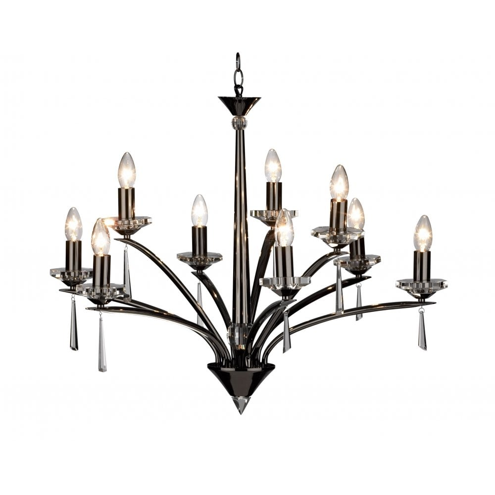 dar lighting hyperion hyp1367 black chrome  crystal sconce