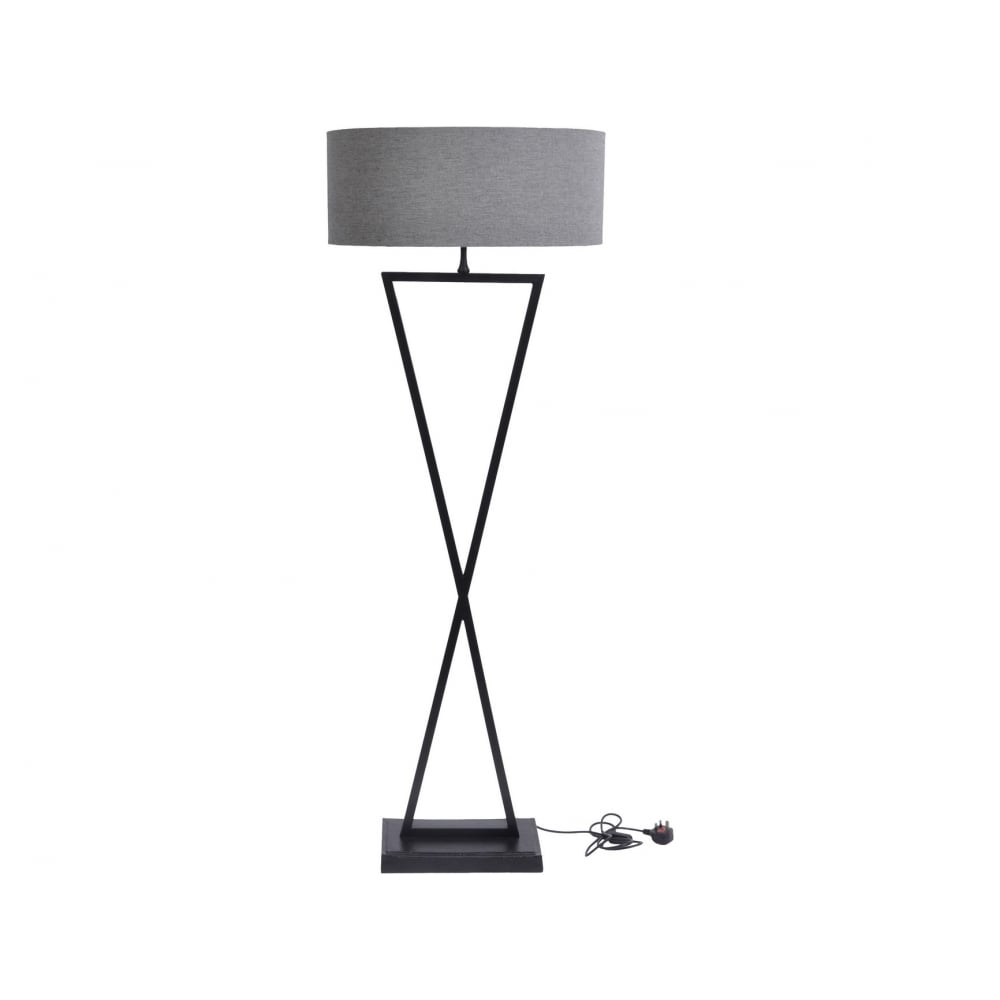 Libra Company Wardour 700076 Matt Black Cross Pattern Floor Lamp With Grey Lamp  Shade