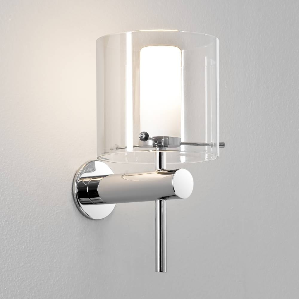Opal arezzo 0342 polished chrome bathroom wall light with clear glass lamp shade aloadofball Choice Image