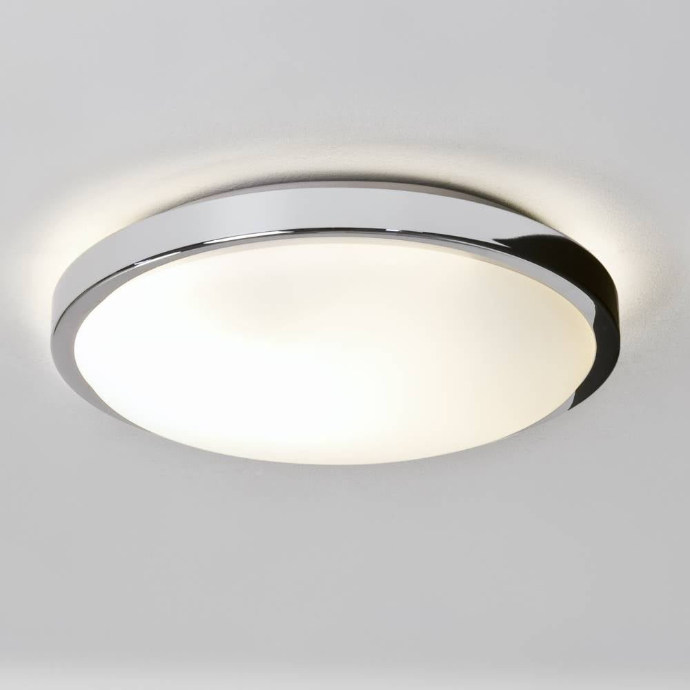 Denia 0587 Flush Ceiling Or Wall Light Polished Chrome With Opal Glass