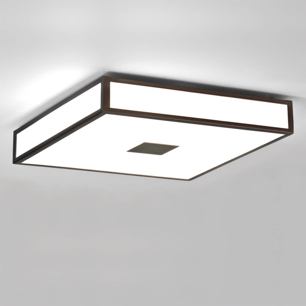 Mashiko 400 0969 Square Flush Bathroom Ceiling Light Bronze Opal Glass IP44