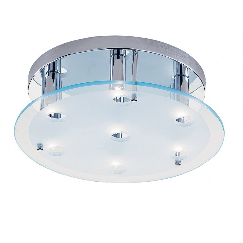 Searchlight electric dallas 5537cc chrome with clear glass - Clear glass ceiling light ...