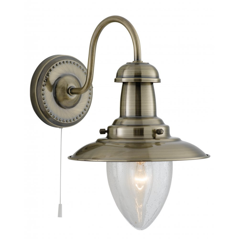 Searchlight Electric Fisherman 5331-1AB Antique Brass With Clear Seeded Glass Shade Wall Light ...