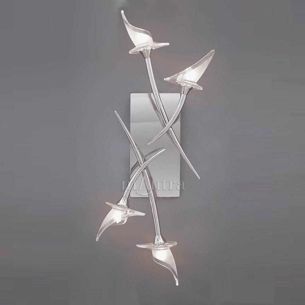 Chrome Flush Wall Lights : Mantra Spain Flavia M0311 Polished Chrome Flush 4 Light Wall Light - Mantra Spain from Lightplan UK
