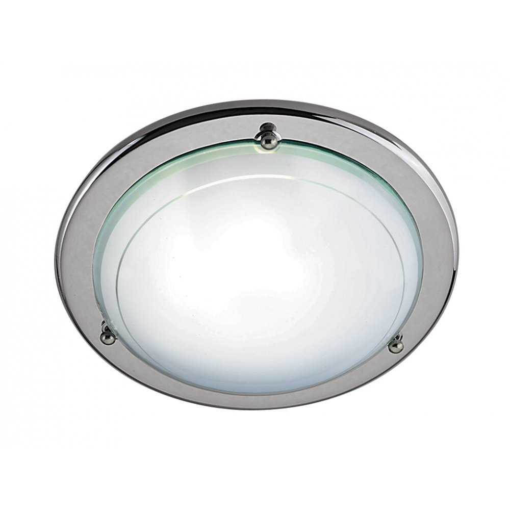 Searchlight Electric Jupiter 702SI Chrome With Glass Shade Flush Ceiling Ligh