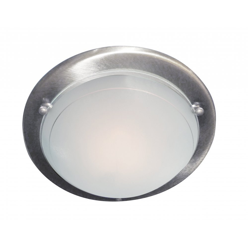 Ceiling Lights Glass Shades : Searchlight electric jupiter ss satin silver with glass shade flush ceiling light