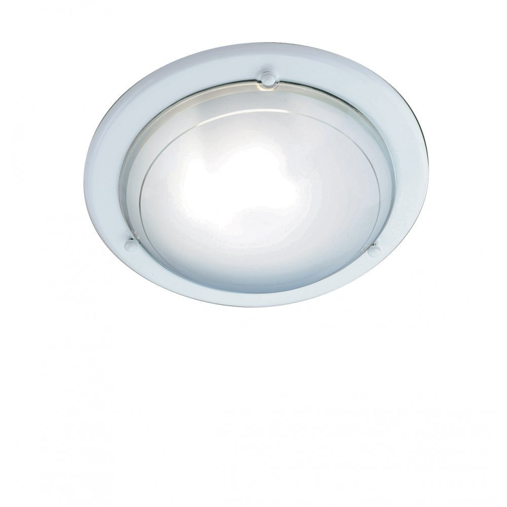 Ceiling Lights Glass Shades : Searchlight electric jupiter wh white with glass shade flush ceiling light