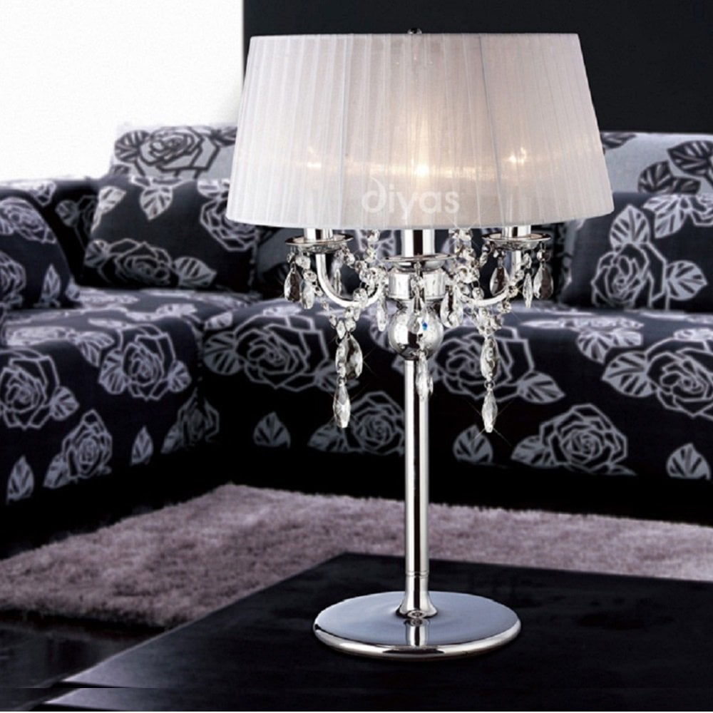 Crystal 3 Light Table Lamp & White Shade - Diyas UK from Lightplan