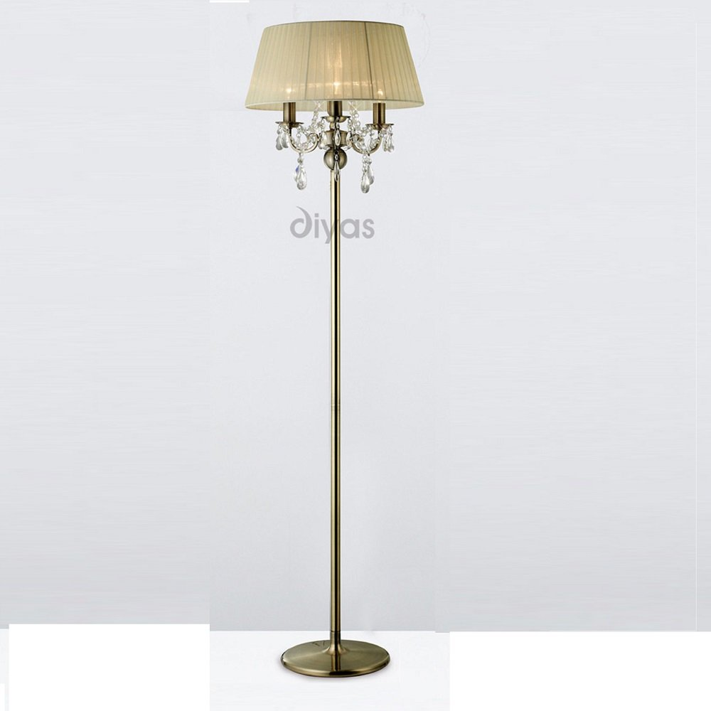 il30066cr antique brass crystal 3 light floor lamp cream shade. Black Bedroom Furniture Sets. Home Design Ideas