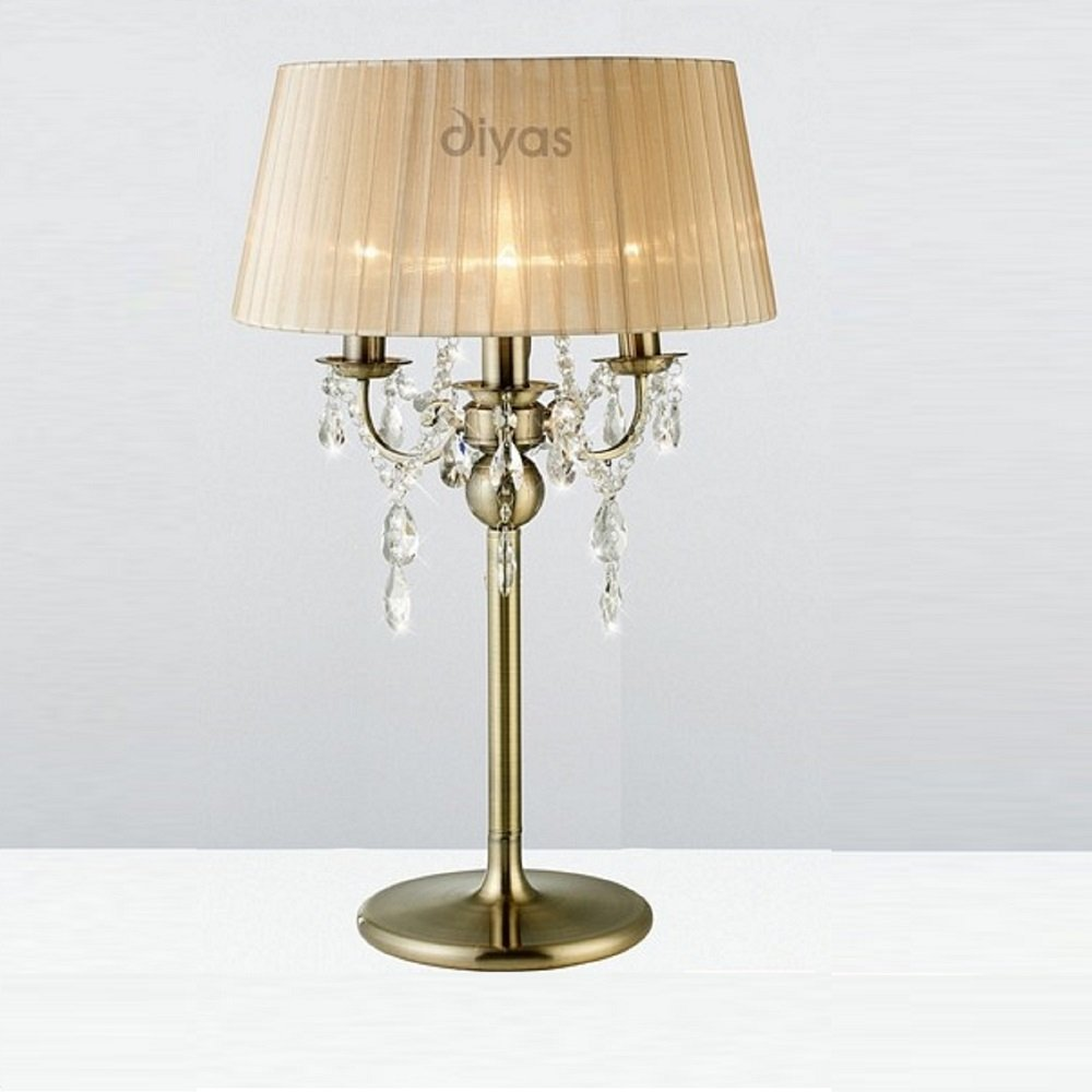 Diyas uk olivia il30066sb antique brass crystal 3 light for 3 light crystal floor lamp