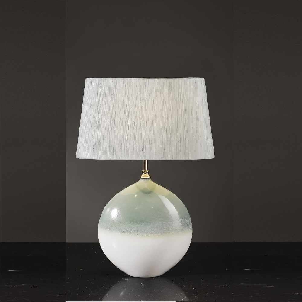 Elstead Lighting Serena Cream & Turquoise Table Lamp Small ...