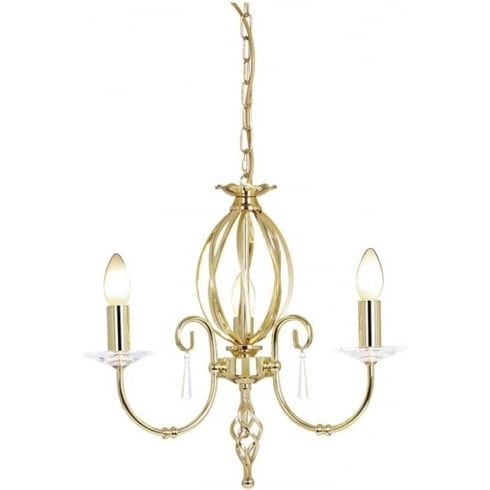 Elstead Lighting Aegean AG3 Polished Brass 3Lt Chandelier