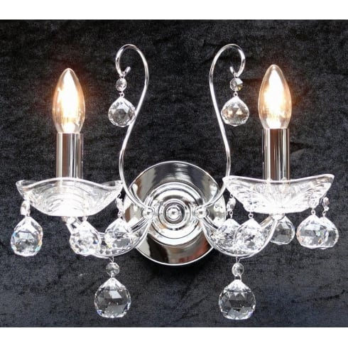 Fantastic Concerto 1524/2P Chrome Wall Bracket With Crystal Peardrop Trimmings