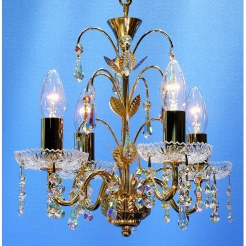 Fantastic Lighting Pendant 35/4 Gold Plated With Crystal Sconces & Aurora Borealis Trimmings