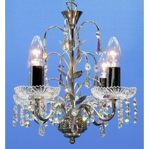 Fantastic Lighting Chandelier 34/4 Chrome With Crystal Sconces & Aurora Borealis Trimmings Pendant