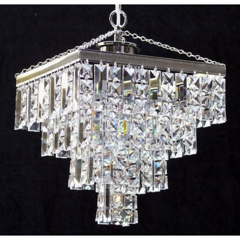 Fantastic Lighting 180/11/3 Tempo 4 Tier Crystal Square & Lozenge Pendant