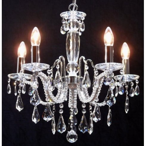 Fantastic Lighting Mozart 603/5 Chrome Beaded Arm & New Pear Shape Trimmings Chandelier