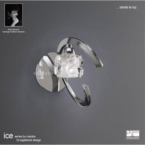 Mantra Ice M1845/S Polished Chrome Switched Single Lamp Wall Light
