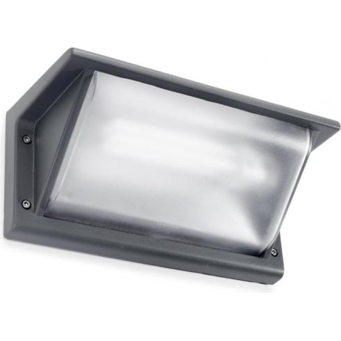 LedsC4 Lighting Curie 05-9408-Z5-M3 Urban Grey Matt Polycarbonate Glass Wall Light