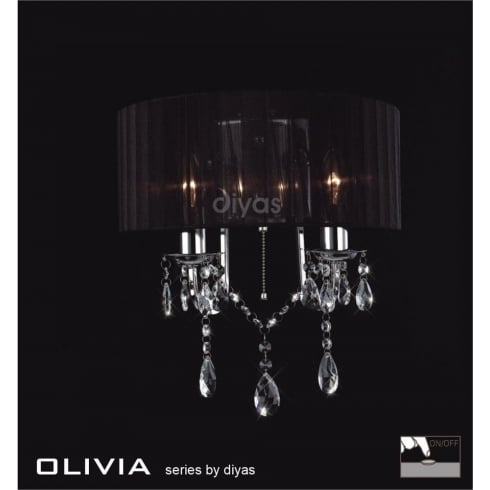 Diyas UK Olivia IL-IL30061/BL Polished Chrome Crystal Twin Light Wall Light with Black Shade