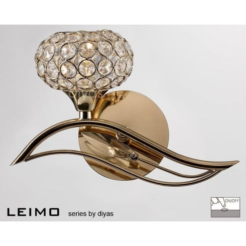 Diyas UK Leimo IL-IL30961/L French Gold Single Light Switched Wall Light Left Hand