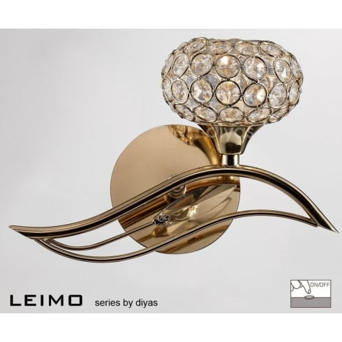 Diyas Leimo IL30961/R French Gold Single Light Switched Wall Light Right Hand
