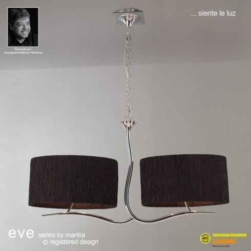 Mantra Spain Eve M1130 Polished Chrome Two Arm Four Light Pendant With Black Shade