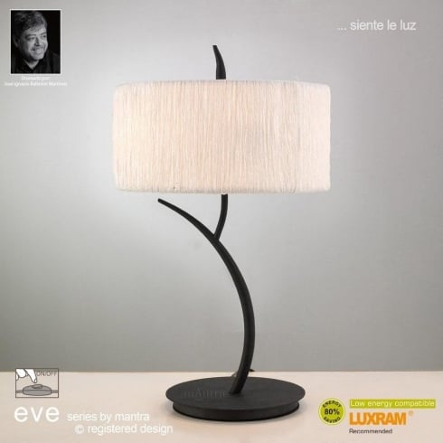 Mantra Eve M1157 Anthracite Twin Light Table Lamp with White Shade