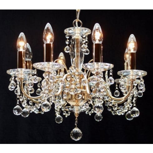 Fantastic Lighting Figaro 400/8 Gold Plated With Crystal Ball Trimmings Chandelier