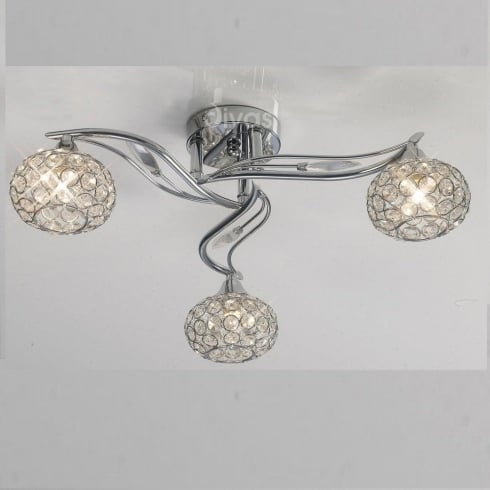 Diyas UK Leimo IL-IL30953 Polished Chrome Crystal Three Lamp Ceiling Light