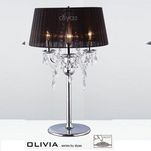 Diyas Olivia IL30062/BL Polished Chrome Crystal Three Light Table Lamp with Black Shade