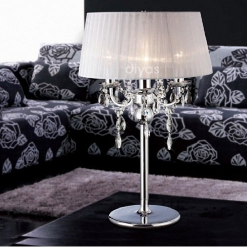 Diyas Olivia IL30062/WH Polished Chrome Crystal Three Light Table Lamp with White Shade