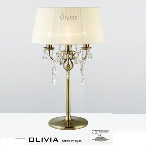 Diyas UK Olivia IL-IL30065/CR Antique Brass Crystal Three Light Table Lamp with Cream Shade