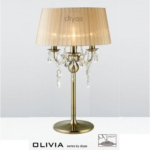 Diyas UK Olivia IL-IL30065/SB Antique Brass Crystal Three Light Table Lamp with Bronze Shade