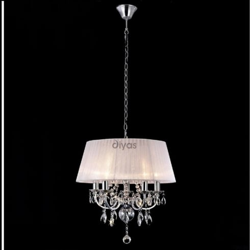 Diyas UK Olivia IL-IL30046 Polished Chrome Crystal Five Light Pendant Ceiling Fitting with White Shade